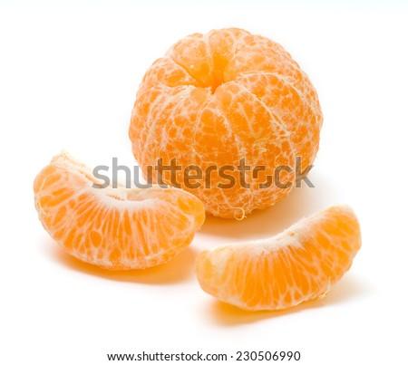 Peeled orange slice isolated on white background - stock photo