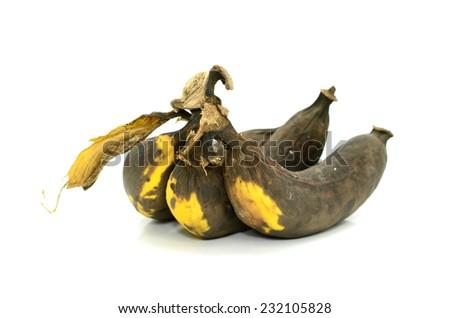 peeled overripe banana on a white background - stock photo