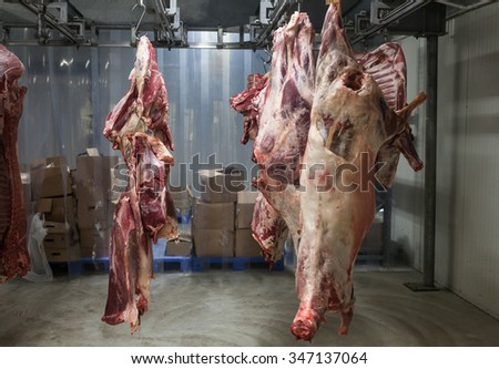 Peeled pork hanging on the hook at the butcher section in supermarket.  - stock photo