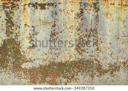 Peeled worn metal worn surface. Vintage effect.  - stock photo