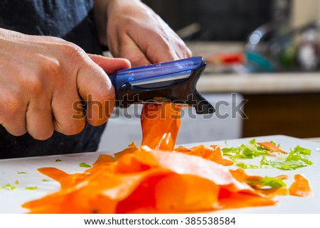 Peeling carrots for cooking