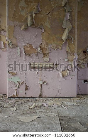 peeling paint detail on wall - stock photo