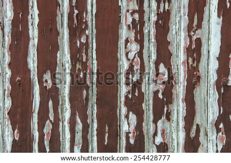 Peeling paint on old wooden