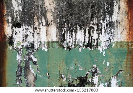 Peeling paint on wall seamless texture. Pattern of rustic blue grunge material. - stock photo
