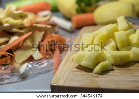 Peeling the veatable for cooking