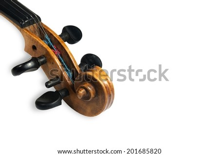 Peg box and scroll of old scratched violin. Isolated on black  background
