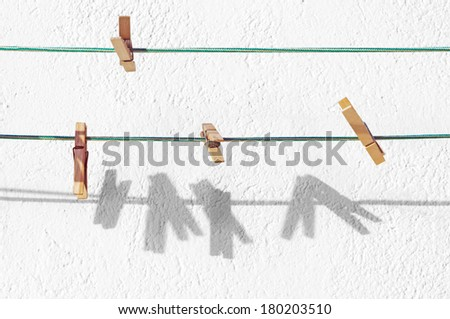 peg for clothes hanging on rope