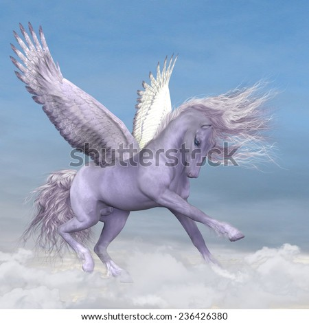 Pegasus among the Clouds - Silver white Pegasus plays and frolics among fluffy cumulus clouds. - stock photo