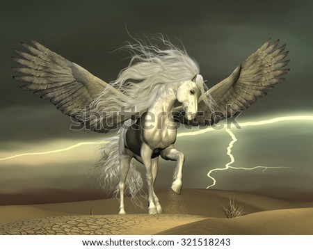 Pegasus and Dark Skies - A white Pegasus horse nervously paws the ground with outstretched wings as a thunderstorm passes by.