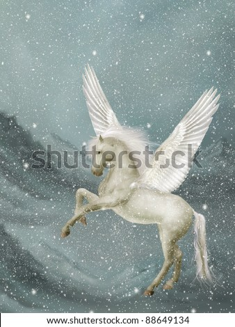 pegasus in a winter landscape with snow - stock photo
