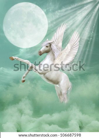 pegasus in fantasy landscape with waves and moon - stock photo