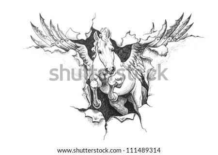 Pegasus ripped metal. Pencil drawing illustration. - stock photo