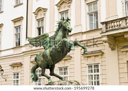 Pegasus sculpture in Mirabell Gardens in Salzburg, Austria - stock photo