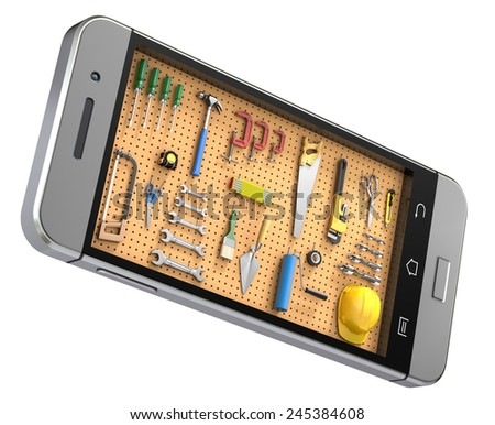 Pegboard in the mobile phone - stock photo