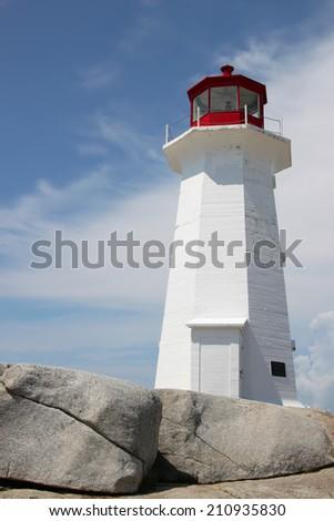Peggy's Cove lighthouse in Nova Scotia - stock photo