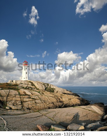 Peggy's Cove Lighthouse, St. Margaret's Bay, Nova Scotia - stock photo