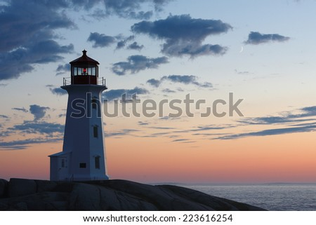 Peggys Cove Lighthouse on a Sunset Sky, Nova Scotia, Canada