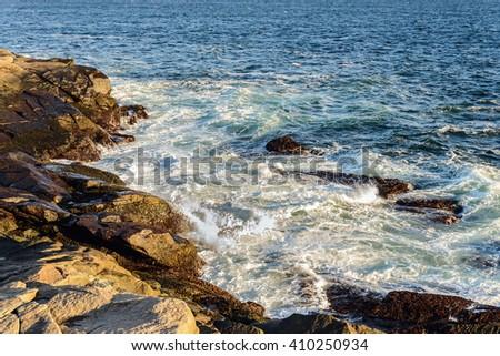 Peggys Cove shoreline (Nova Scotia, Canada) - stock photo