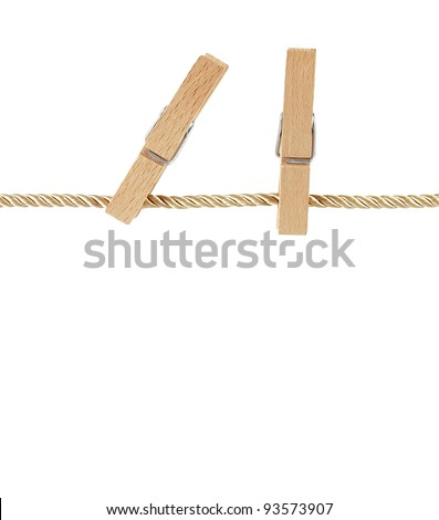 pegs on clothesline isolated on white background - stock photo