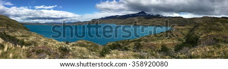 Pehoe Lake in Torres del Paine National Park, Chile - stock photo