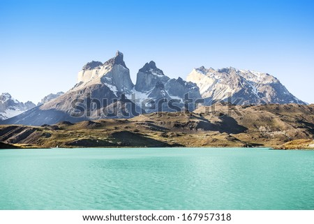 Pehoe mountain lake and Los Cuernos (The Horns), National Park Torres del Paine, Chile.  - stock photo