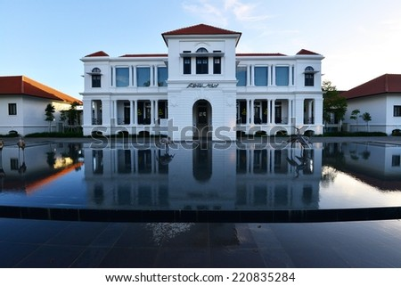 PEKAN, PAHANG-APRIL 12: Museum Sultan Abu Bakar is built with an attractive setting. April 12 2013 Some view the Museum Sultan Abu Bakar with awesome reflection on water at evening.  - stock photo