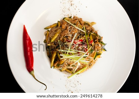Pekin salad with piece of pepper  - stock photo