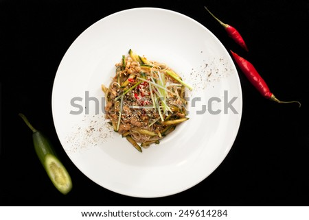 Pekin salad with piece of pepper and cucumber - stock photo