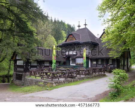PEKLO BY NOVE MESTO NAD METUJI - MAY 12, 2016: Historic and popular cottage-restaurant in the village 'Peklo' is 'Bartonova Utulna', as is officialy named. The old mill  Pekelec was rebuilt in 1912