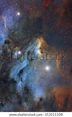Pelican nebula in the Milky Way. My astronomy work. No elements of NASA or other third party. - stock photo