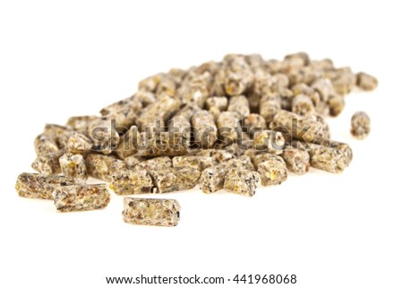 Pelleted compound feed Isolated on white background, wheatfeed pellets - stock photo