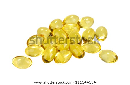 pellets of fish oil isolated on white close-up