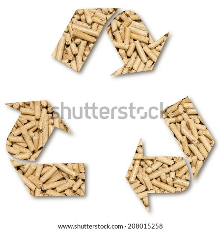 Pellets, recycle symbol, ecological fuel isolated on white background