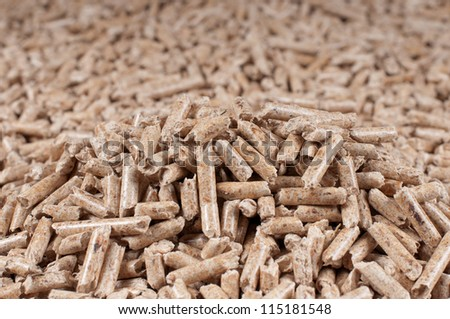 Pellets- selective focus on the heap - stock photo
