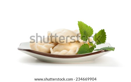 pelmeni on a plate isolated over white background - stock photo
