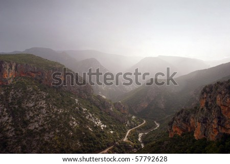 Peloponnese Greece - near Leonidio, view from the monastery at the moutains - stock photo