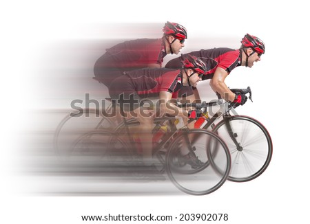 peloton of cyclists sprints to the finish isolated on white background  - stock photo