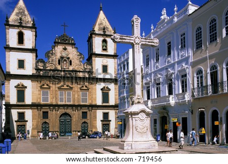 Pelourinho plaza in Salvador do Bahia, Brazil - stock photo