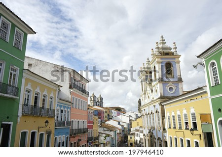 Pelourinho Salvador da Bahia Brazil historic city center colorful colonial buildings - stock photo