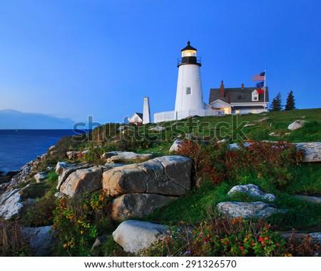 Pemaquid Point Lighthouse In Pre Dawn Light, Bristol, Maine, USA - stock photo