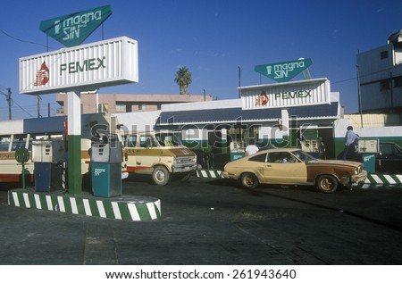 PEMEX gas station in Tijuana, Mexico - stock photo
