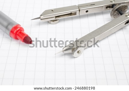 pen and compasses - stock photo