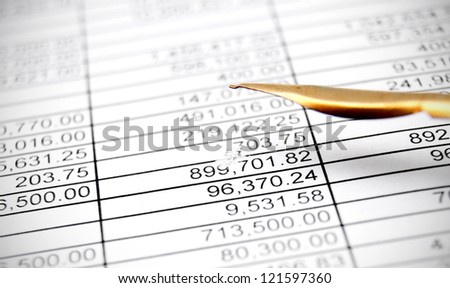 Pen and documents. Accounts department. - stock photo