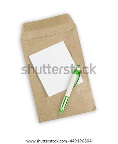 pen and envelope document with paper isolated on white background. - stock photo