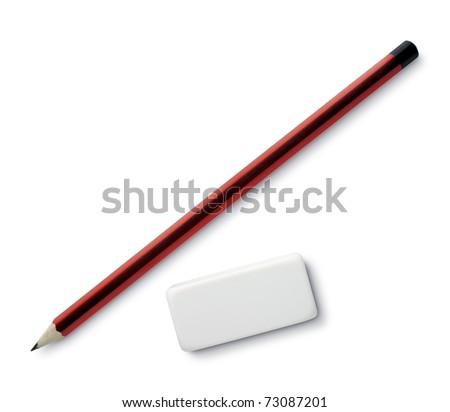 pen and eraser sharpener on white - stock photo