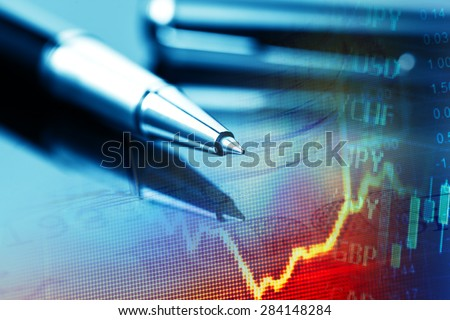 Pen and finance data. Business concept. - stock photo