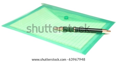 pen and folder for papers on white - stock photo