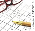 pen and glasses on an unfinished sudoku game - stock photo