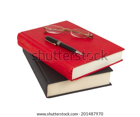 Pen and glasses On books Isolated on white background - stock photo
