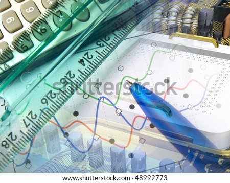 Pen and graph against the motherboard - business collage.